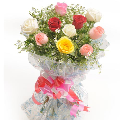 Bouquet Of 10 Mix Colour Roses