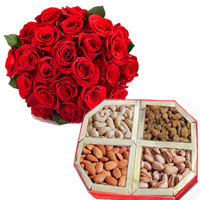 Mix Dryfruit with Red Roses