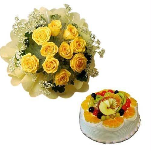 Combo Of 12 Yellow Roses And 1 Pound Fresh Fruit Cake