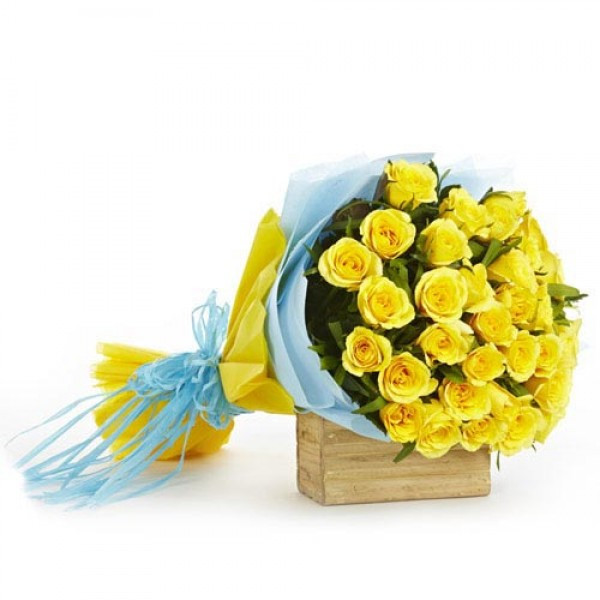 25 Yellow Roses In Double Tissue Packing