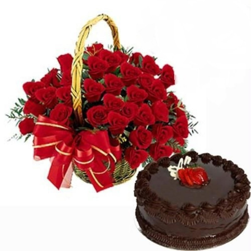 Chocolate Truffle Cake with basket arrangements of Roses