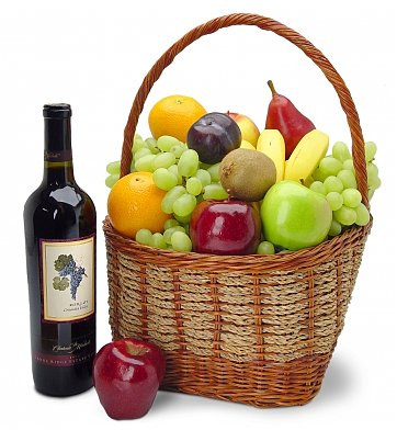 Fruit Basket With Wine Hamper