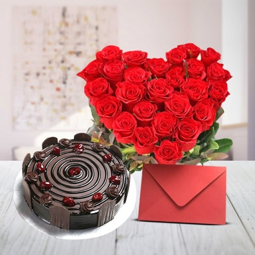 Buy gift hamper of HeartShaped Arrangement of 30 Red Roses with Greeting Card