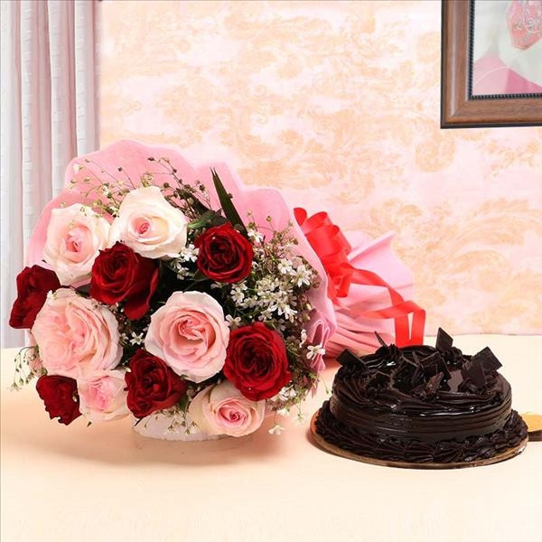 Gift combo 12 Roses Bunch with and half kg Chocolate truffle cake