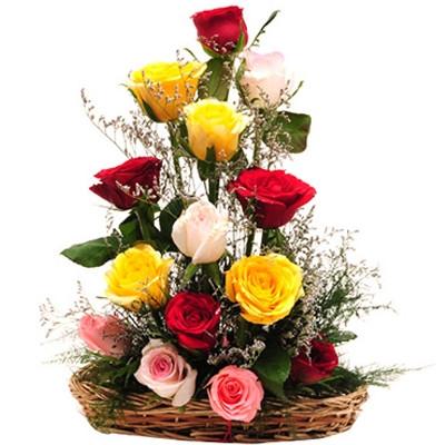 Basket Arrangements Of 15 Mix Colour Roses