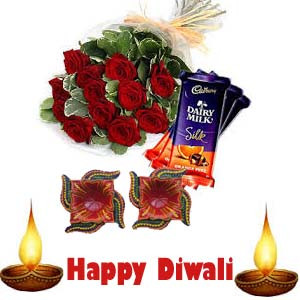 Diwali 6 Red Roses N Cadbury Silk Chocolate Combo