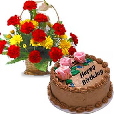 Birthday Treat - Basket Of Red And Yellow Carnations With Half Kg Chocolate Cake