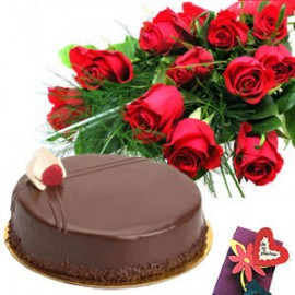 Order combo of Bunch of 12 Roses and 1/2 kg chocolate cake. Elegance of Red Roses and sweetness of Chocolate cake with your message