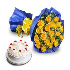 Roses with 1Kg Pineapple Cake