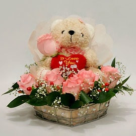 Cute Teddy with Flowers