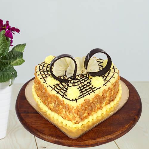 Heart Shaped Butter Scotch Cake