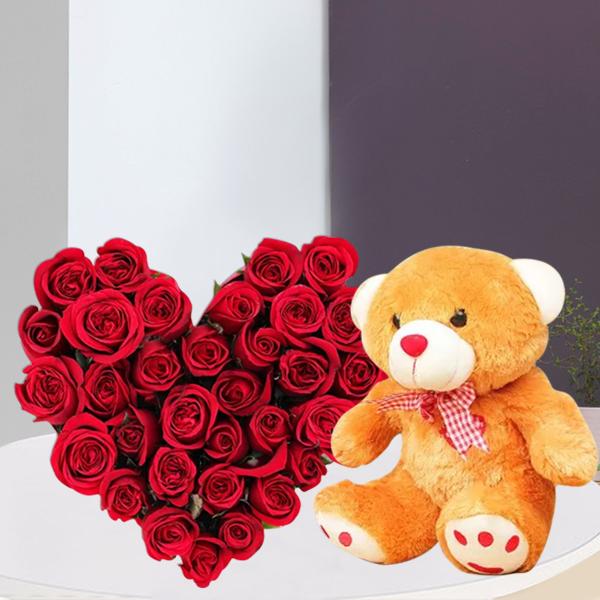 Gift Hamper Of 35 Red Roses In Heartshape Arrangement And 1 Feet Cute Brown Teddy