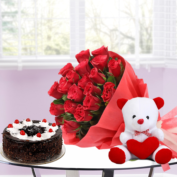 20 Red Roses half kg Black forest cake with 6inch Teddy