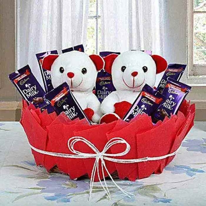 Gift Basket Of 2 Teddy With 10 Dairy Milk Chocolate