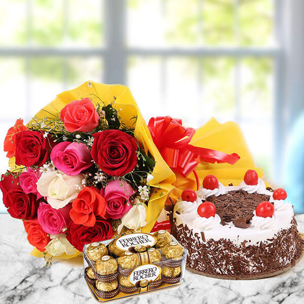 Gift Set of  12 Mix colour Roses with Half kg Black Forest Cake and 16 pcs Ferrero Rocher Chocolate