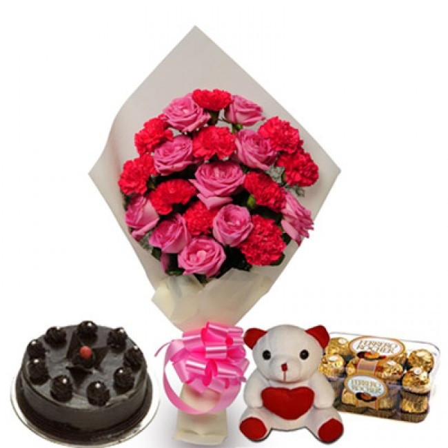 Combo Gift Of 10 Pink Roses And 10 Pink Carnations Bunch + Half Kg Chocolate Truffle Cake + 6 Inch Teddy + 16 Pcs Ferrero Rocher Chocolate