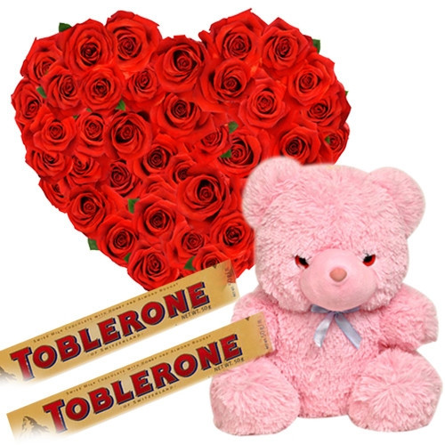 Gift Combo Of 30 Red Roses In Heart Shape Arrangement With 2 Toblerone Chocolate Bars And 1 Pink Cute Teddy