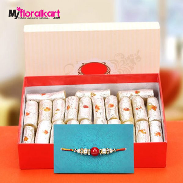 Mouthwatering Kaju Roll with beaded rakhi