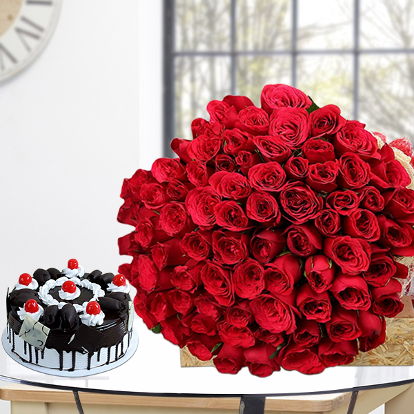 50 Red Roses with 1kg cake