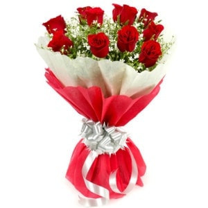 Be Happy Be Loved - 15 Red Roses Bouquet With Double Tissue Paper Packing