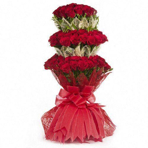 3 Tier Red Rose Bunch