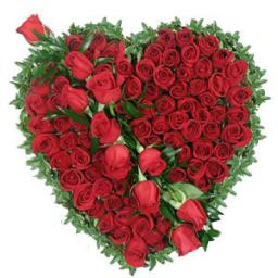 Heartshape Arrangement Of 100 Red Roses