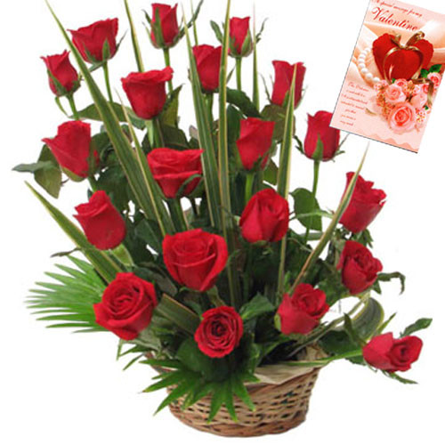 Valentine Gift Combo Of 20 Red Rose Basket And Valentine Greeting Card
