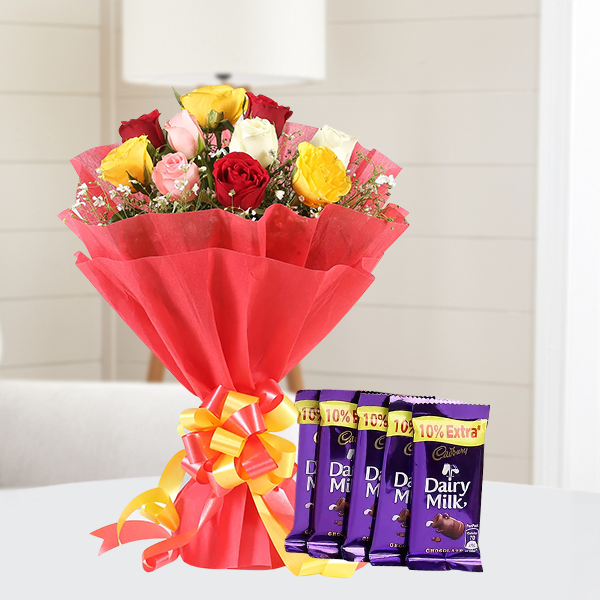 Combo Of 12 Mix Color Roses Bunch With 5Pcs Dairy Milk Chocolate
