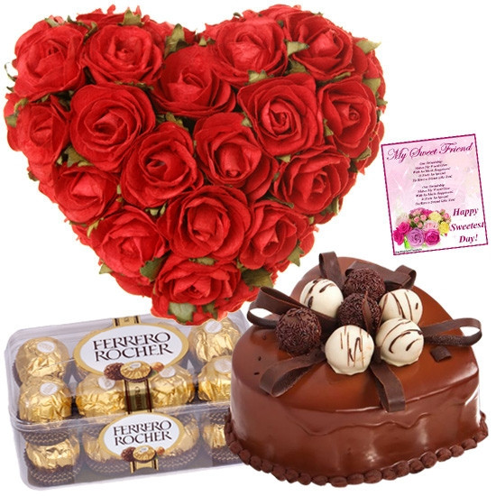 Gift Set Of Valentine Greeting, 40 Red Roses Heart Shape Arrangement, 16 Pcs Ferrero Rocher Chocolate And 1Kg Black Forest Cake