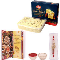 Traditional Rakhi with Soan Papdi