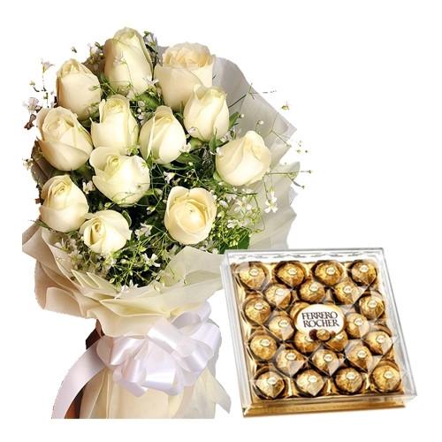 White roses n Chocolate