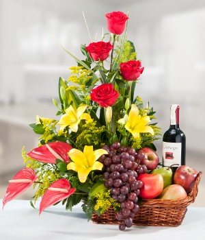 Flower Fruits & Wine Hamper