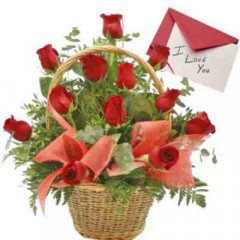 Rose Basket  With Greeting Card