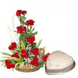Basket of Rose and Cake