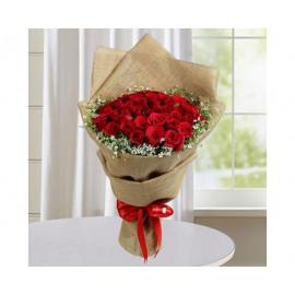 Jute Red Roses Bunch