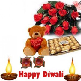 Diwali Ferero Rocher Chocolate Teddy Bear Combo