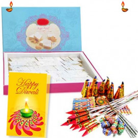 Diwali Crackers with Kaju Katli