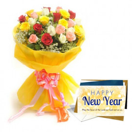 Roses With New Year Greeting