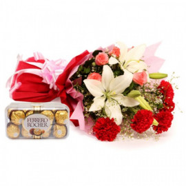Mix Exotic Bunch with Ferrero Rocher Box