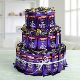 Sweet Dairy Milk Chocolate & Eclairs Chocolate Tower