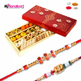 Kaju sweet assortment and bead rakhis