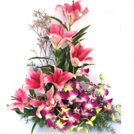 Oriental Lilies with Orchid Basket