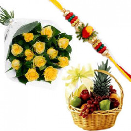 Rakhi with Fruit Basket