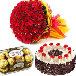 60 Red Roses with cake chocolate