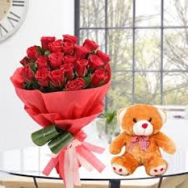 20 Red Roses with 1 feet Cute Teddy
