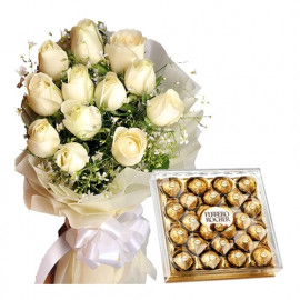 White roses n Chocolate