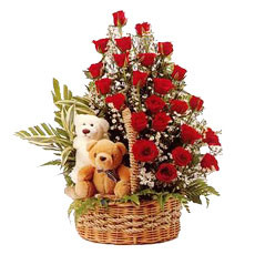 24 Roses Basket and Teddy Bears