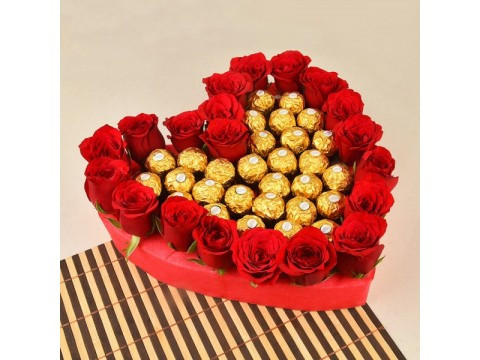 20 Red Roses with 24pcs of Ferrero Rocher chocolate