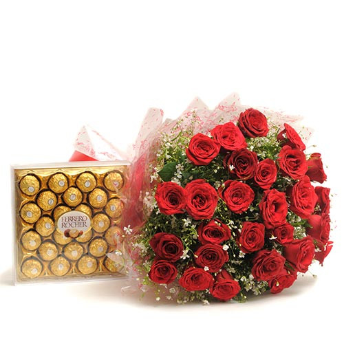 30 Red Roses and 24 Ferrero Rocher