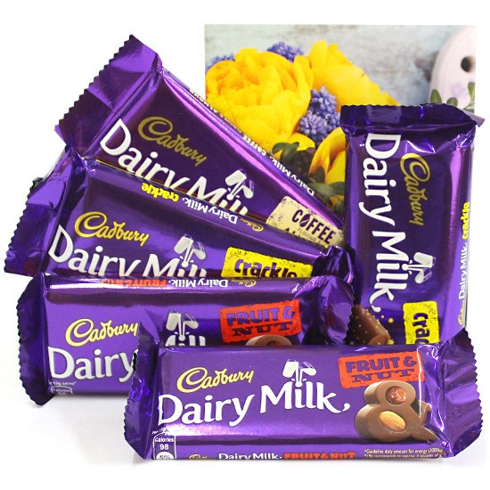 5 Dairy milk (fruit n nut , clackle) of 38gms each  with greeting card